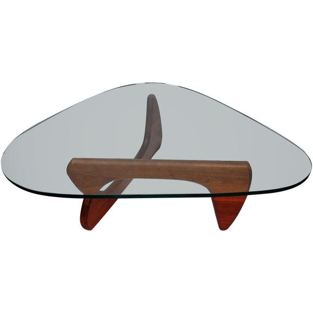 Noguchi Style Walnut & Glass Coffee Table - Image 1 of 7