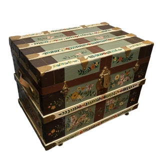 Hand Painted Trunk With Leather Handles