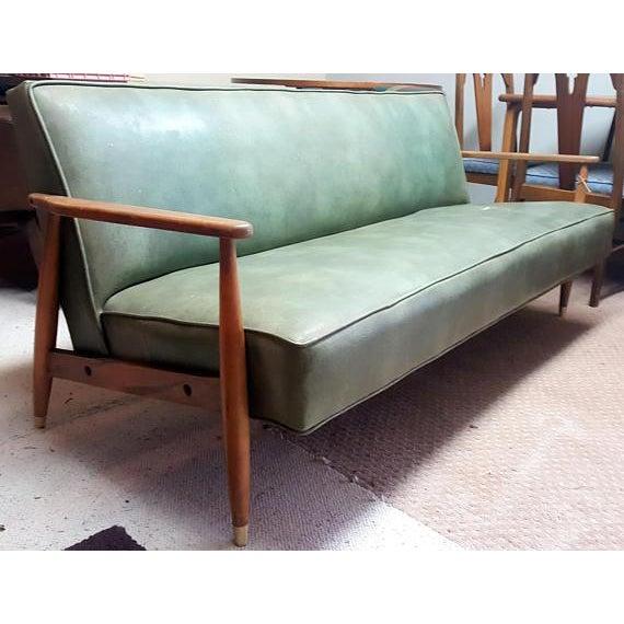 Mid-Century Modern Vinyl Wood Frame Sofa
