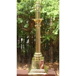Image of Hollywood Regency Brass Gold Greek Column Lamp