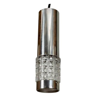 Mid-Century Chrome and Molded Glass Pendant Light