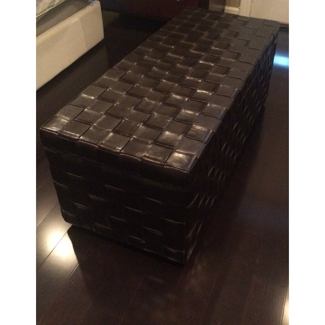 Image of Basketweave Leather Storage Chest