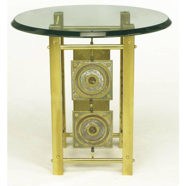 Postmodern Enameled Brass Panel Studio Side Table - Image 3 of 10