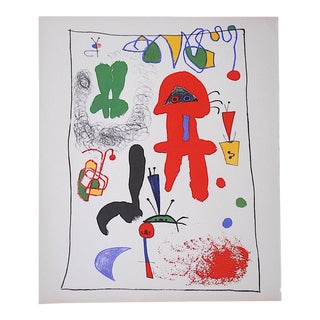 Vintage Abstract Lithograph, Joan Miro