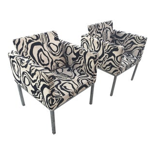 Modern Chrome Upholstered Side Chairs - A Pair