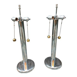 George Kovacs Chrome Table Lamps with Ball Pulls - A Pair