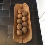 Image of Vintage Dough Bowl With 9 Wood Spheres