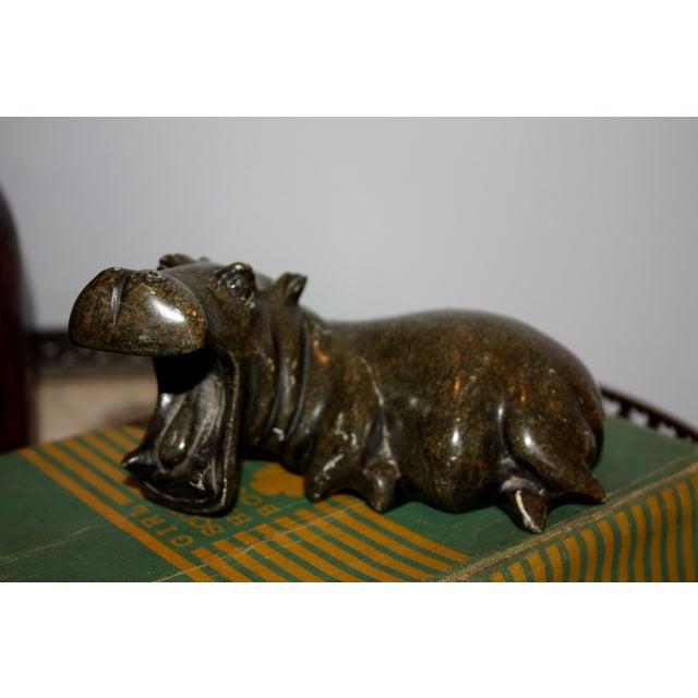 Verdite stone shona hippo sculpture chairish