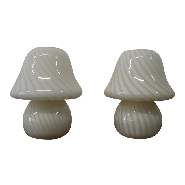 Murano White Mushroom Swirl Table Lamps - A Pair - Image 1 of 5