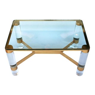 Karl Springer Lucite and Brass Occasional Table