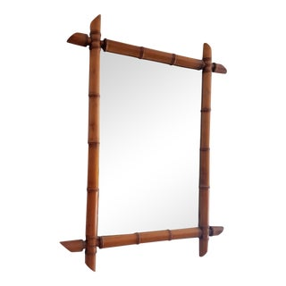 Vintage French Faux Bamboo Carved Wood Mirror