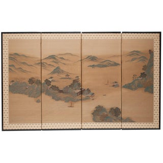 Japanese Byobu Guache Painted Screen, C.1910