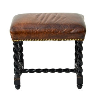 Leather Turned Leg Stool
