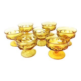 Vintage Retro Kings Crown Amber Indiana Champagne Glassware - Set of 7