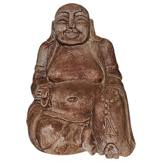Stained & Carved Solid Wood Buddha
