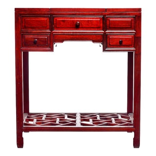 Red Lacquer Vanity Desk & Folding Mirror