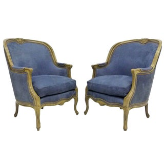 Hancock & Moore Indigo Leather Armchairs - A Pair