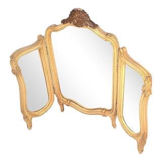 Vintage French Provincial Tri-Fold Mirror