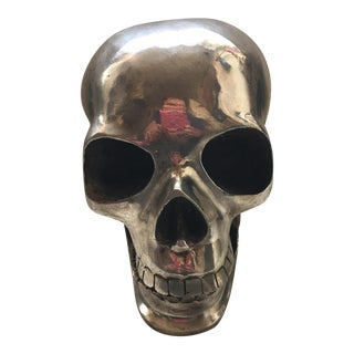 Large Vintage Silver Metal Skull