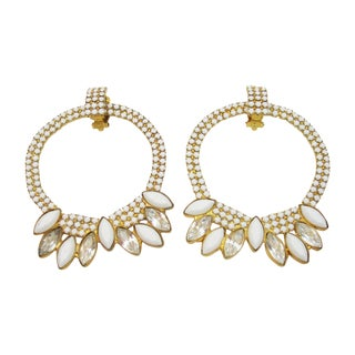 William DeLillo White Hoop Eariings