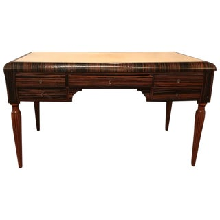 Art Deco Style Ebony and Macassar Desk with Parchment Writing Service