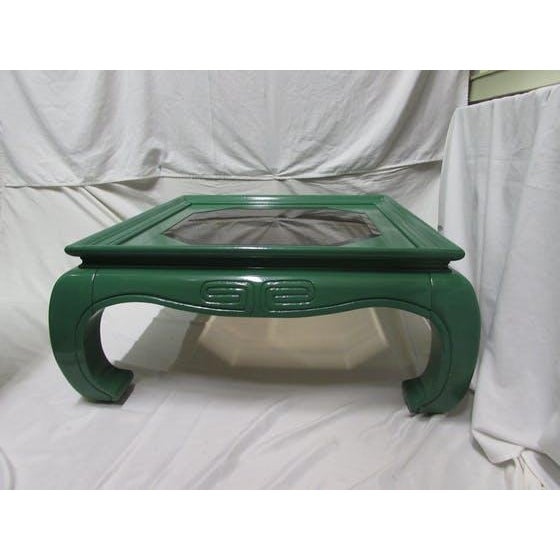 Greek Key Green Lacquered Ming Style Coffee Table - Image 5 of 5