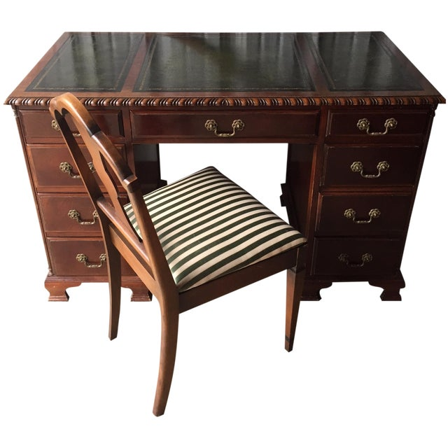 Image of Leather Top Keyhole Writing Desk & Chair