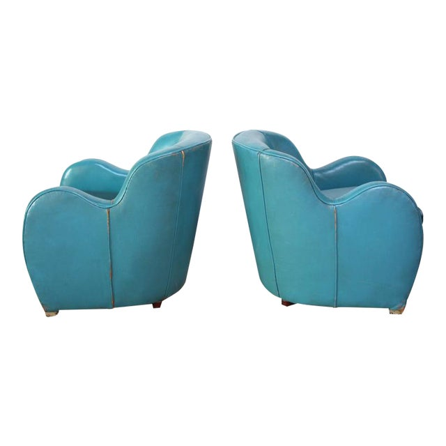 Scandinavian Deco Club Chairs in Blue Leather and Velvet - Image 1 of 11