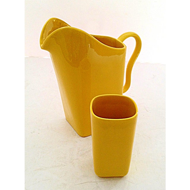 Franciscan Yellow Pitcher and Cup Set - Image 2 of 9