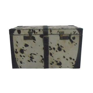 Leather Black & White Storage Trunk Box
