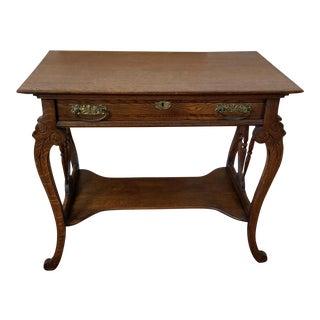 C1900 Antique Victorian Era Oak Writing Table