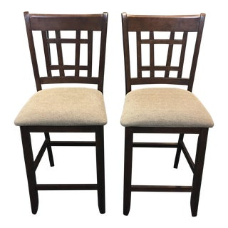 Contemporary Wood & Fabric Counter Stools - A Pair