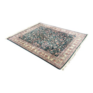 Handknotted Kashan Green Area Rug - 8′ × 10′6″