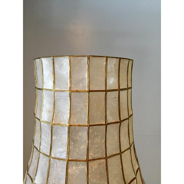 Large Scale Mid Century Capiz Shell Table Lamp - Image 4 of 7