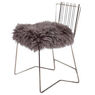 PR03 Folding Brass & Lamb Skin Chair
