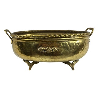 Vintage Oval Brass Footed Planter