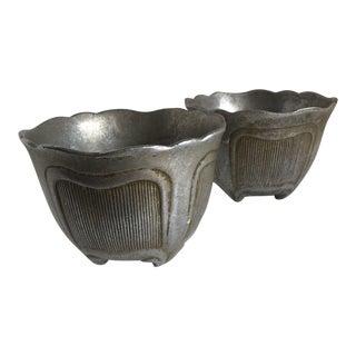 Vintage Rustic Metal Vessels, Plant Pots - a Pair
