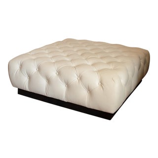 Lee Industries Leather Tufted Cocktail Ottoman