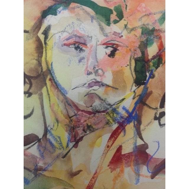Vintage Mixed Media Painting of a Female Nude - Image 3 of 10