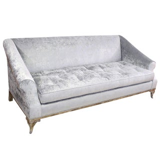 Platinum Velvet Scroll Arm Sofa
