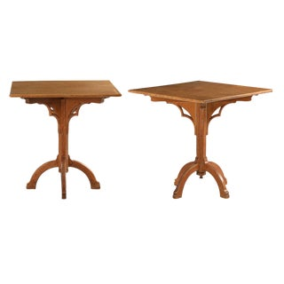 Arts & Crafts Gothic Arched Side Tables - A Pair