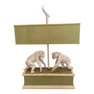 Lamp With 2 Ceramic Monkeys