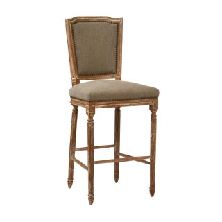 Neoclassical Hardwood & Linen Bar Stool