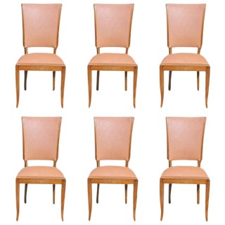 Classic French Art Deco Walnut Dining Chairs - Set of 6 Circa 1940s