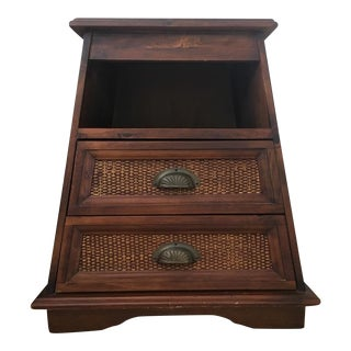 Carved Wood & Wicker Nightstand