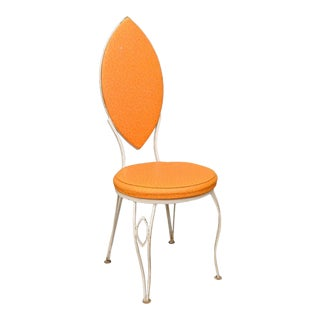 Vintage Mid-Century Modern Orange Wrought Iron Marquise Back Patio Side Chair