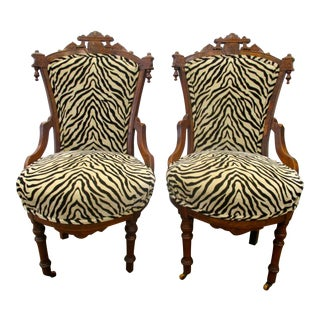 Antique Victorian Carved Chairs - A Pair