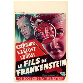 """The Son of Frankenstein"" Movie Poster Astounding Condition 1950s Rerelease Sale"