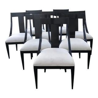 Caryle Dining Chairs - Dark Wood, Ebony With Ivory Upholstery Set of 8
