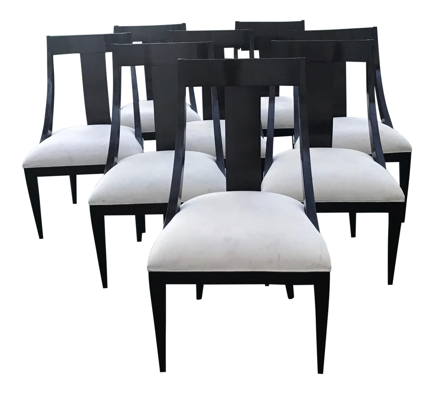 Caryle Dining Chairs   Dark Wood, Ebony With Ivory Upholstery Set Of 8